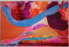 """Saphire Bridge, 48""""x60"""" Contemporary Abstract Painting"""