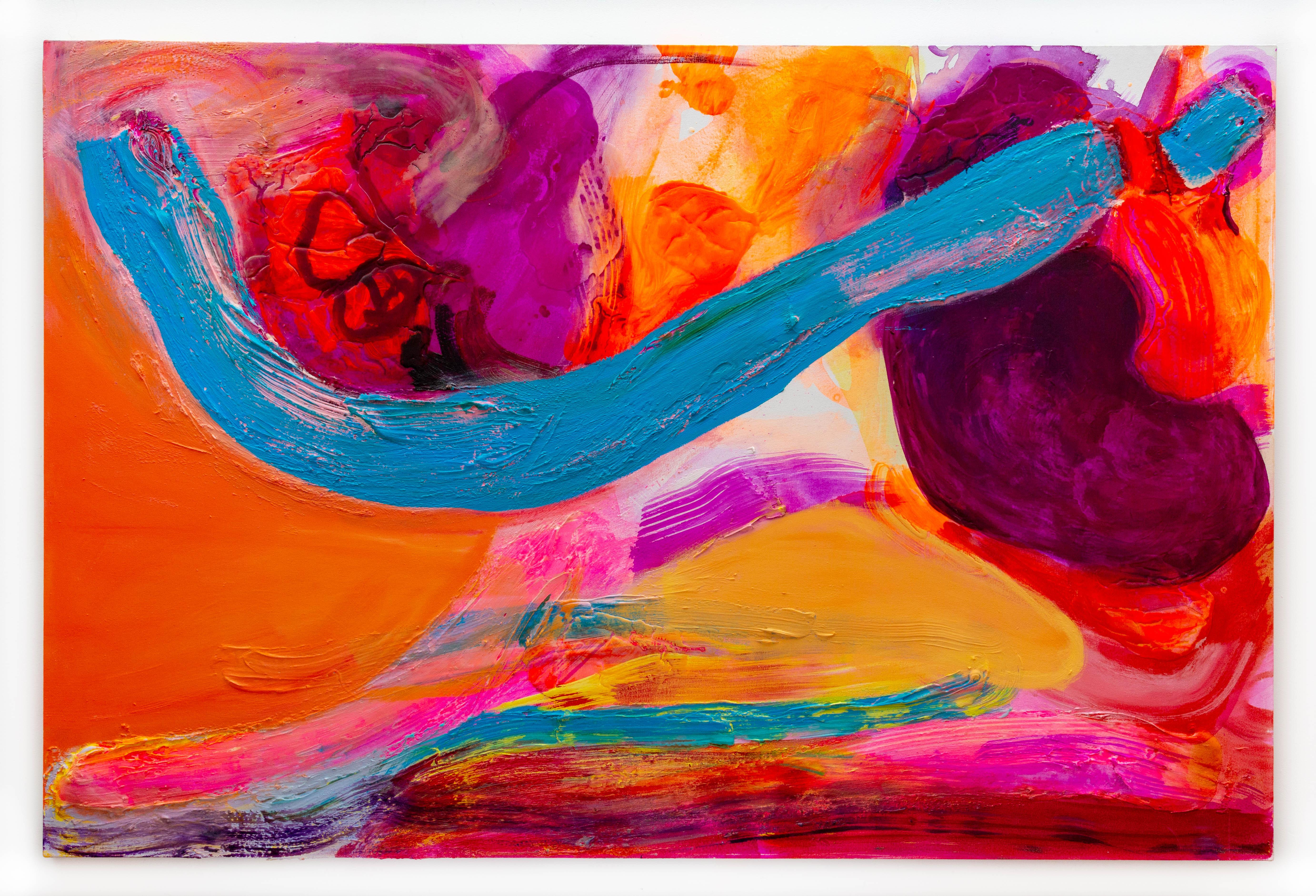 """Gestural Abstract Large Scale Painting, Vibrant Contemporary """"Sapphire Bridge"""""""