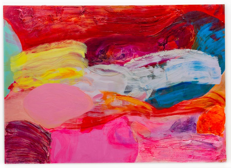 A vibrant gestural abstract painting by New York/Hawaii artist, Debra Drexler.  This large scale painting is infused with color and color and light.  Crimson reds and violet meets a white structural flow of color  with impasto brushstrokes,