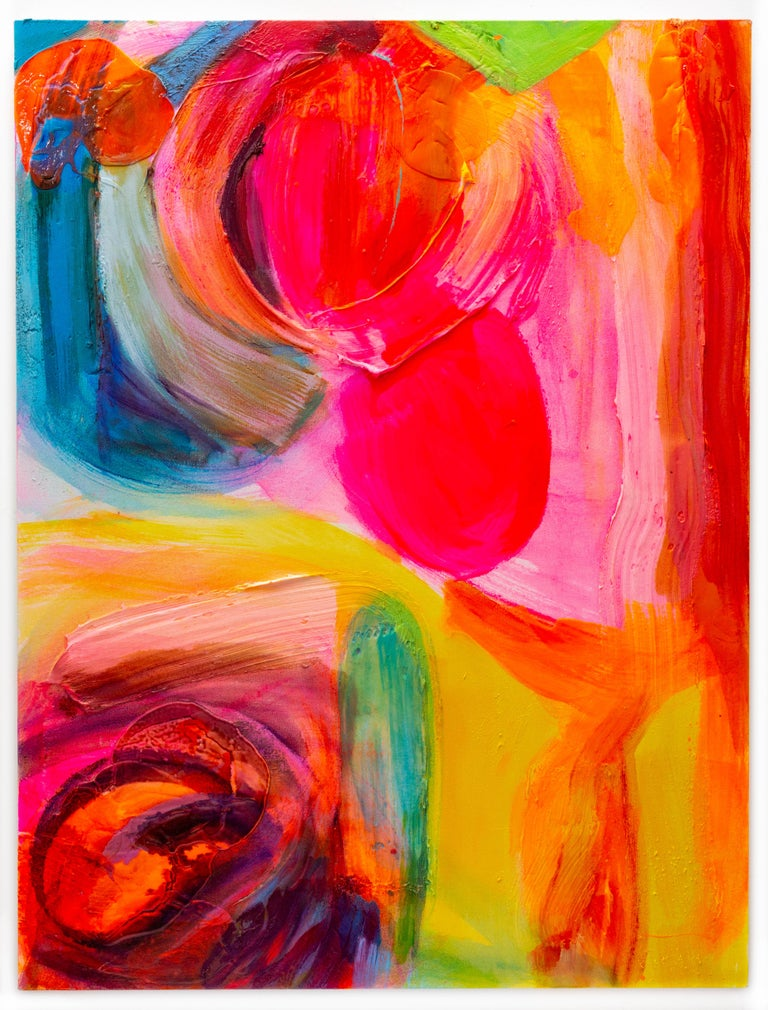 This vibrant gestural abstract painting by New York/Hawaii artist, Debra Drexler is infused with color and light.  Reminiscent of the colors from a sunset sky: bright orange forms and pink violet impasto brushstrokes are composed with yellow and