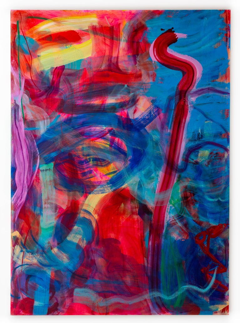 Violet, blue and red intertwine in this gestural abstract painting by Debra Drexler.  This painting is inspired by the intensity of light and colors in Hawaii, where the artist splits her time between there and New York City. Bold lines and