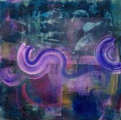 """""""Night Rain"""" 30""""x30"""" cyanotype, paint on canvas, abstract painting"""