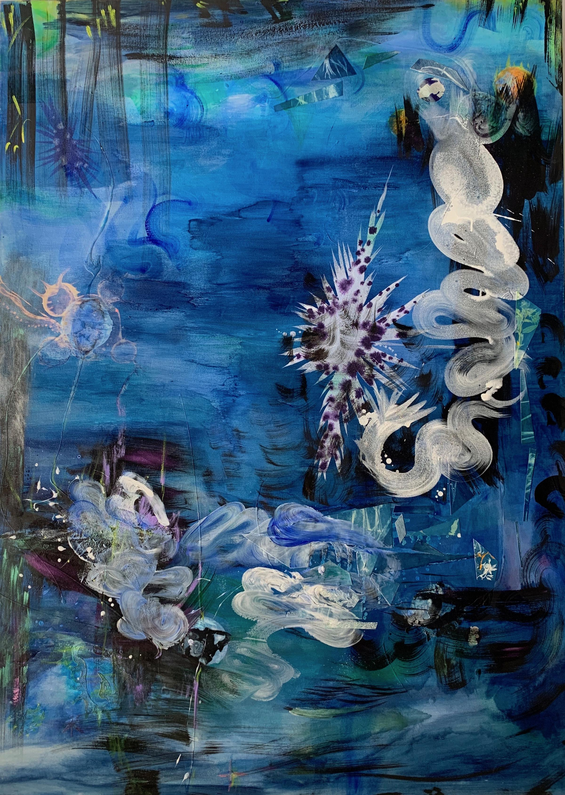 """""""Swept Away"""" large scale abstract painting, under waterscape"""