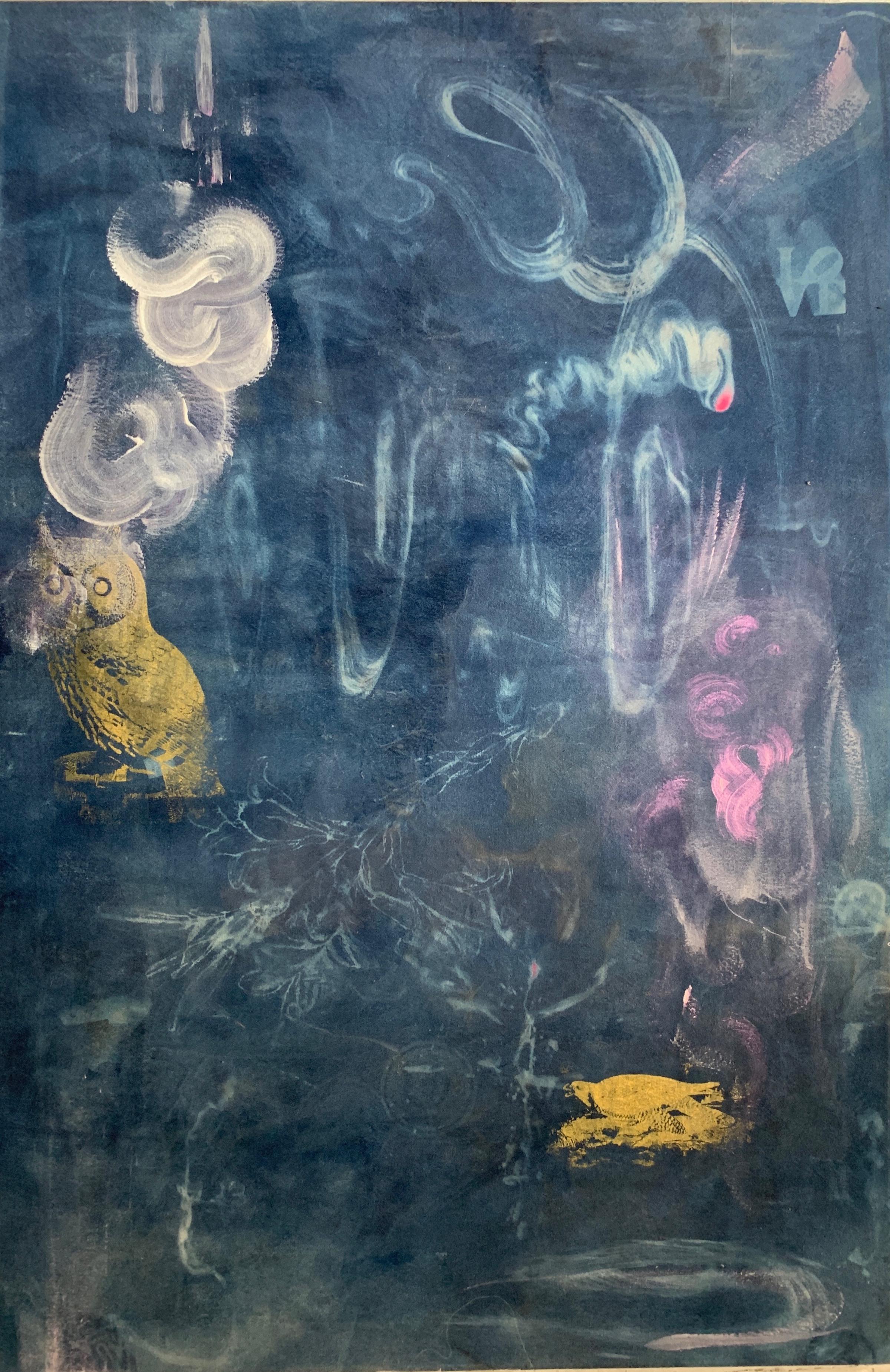 """Garden Mist"" cyanotype and paint and silkscreen on canvas 60x40"""