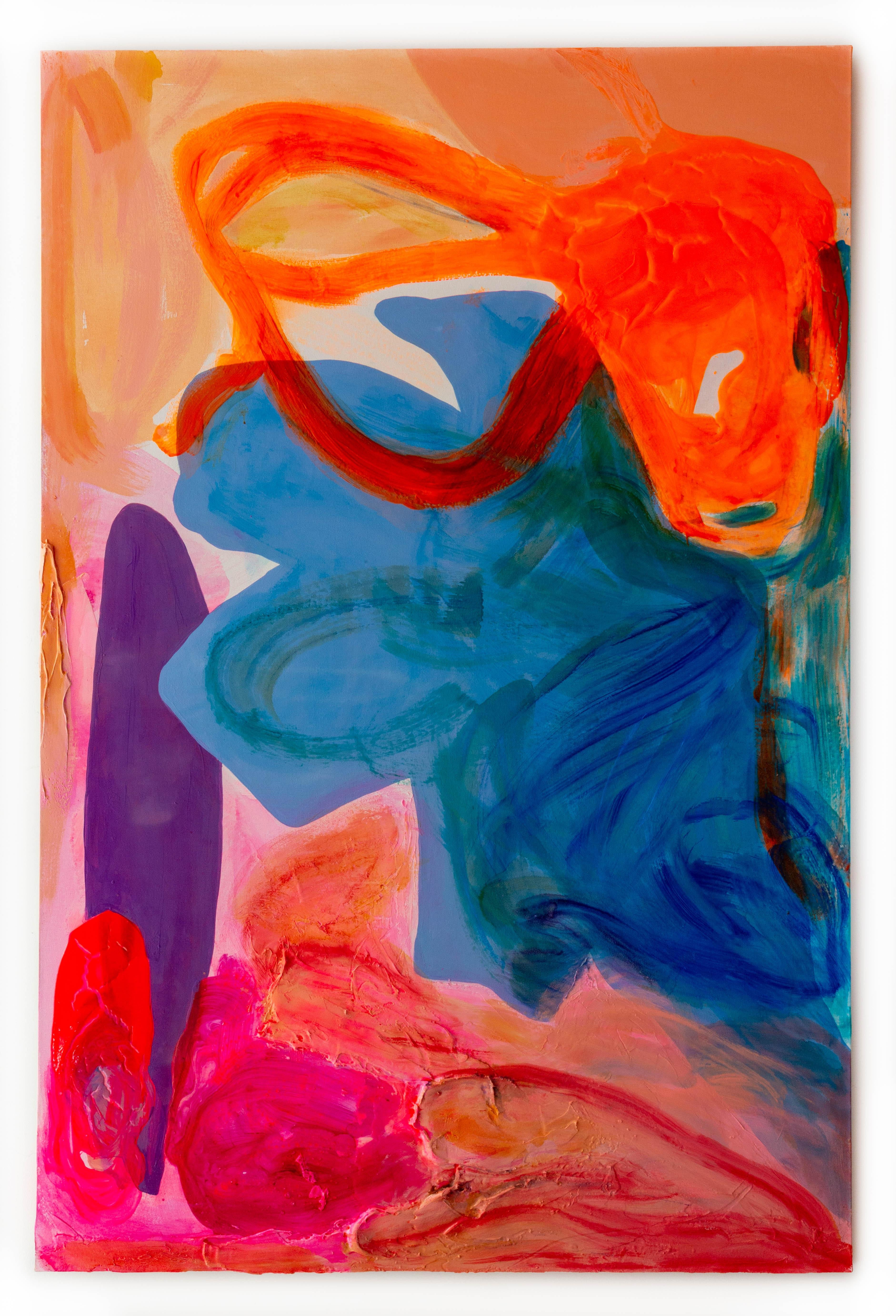 """""""Orange Wiggle"""" Contemporary Large Scale Abstract Painting"""