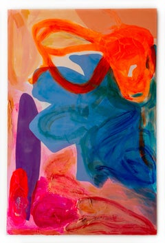 """Orange Wiggle"" Contemporary Large Scale Abstract Painting"