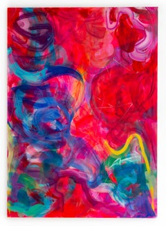 """Simmering Shoal"" Large Scale Contemporary Abstract Painting in red blue violet"