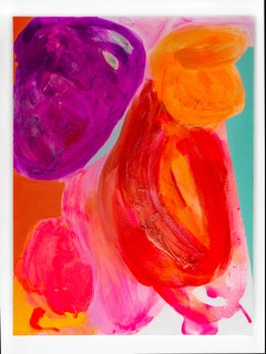 """Contemporary Abstract Painting, """"Turquoise Edge"""" (w/ reds, violets, orange)"""