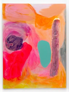 """Contemporary Abstract Painting, """"Violet Edge"""" (w/ turquoise, orange and pink)"""