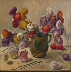 Still Life with Flowers in Ceramic Jug