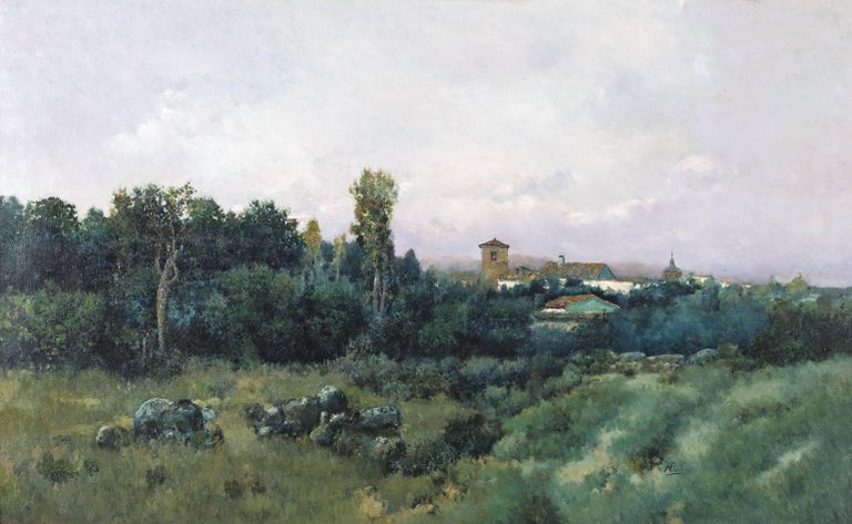 José Franco Cordero  Landscape Painting - Landscape with Flowering Trees and Pond