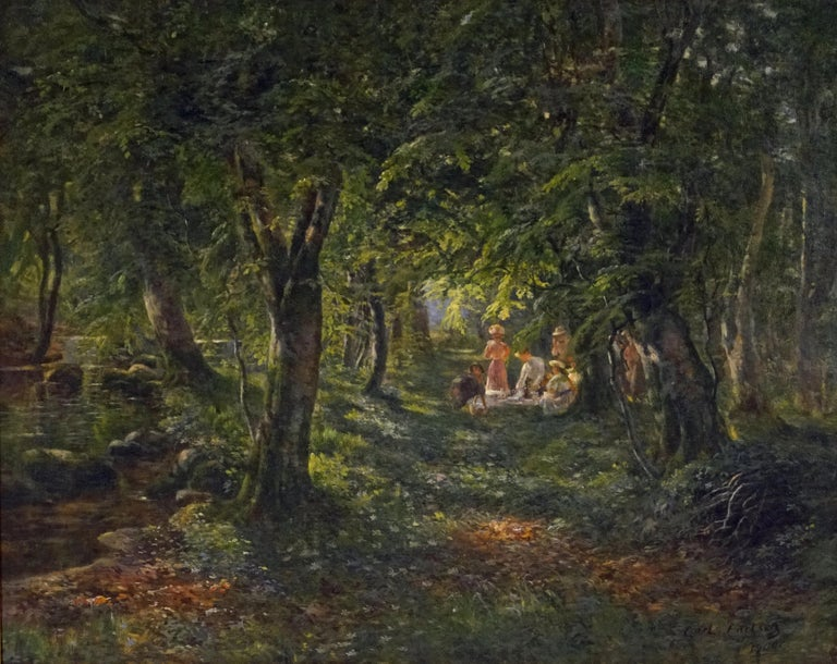 Carl Carlsen Landscape Painting - Figures in the Forest