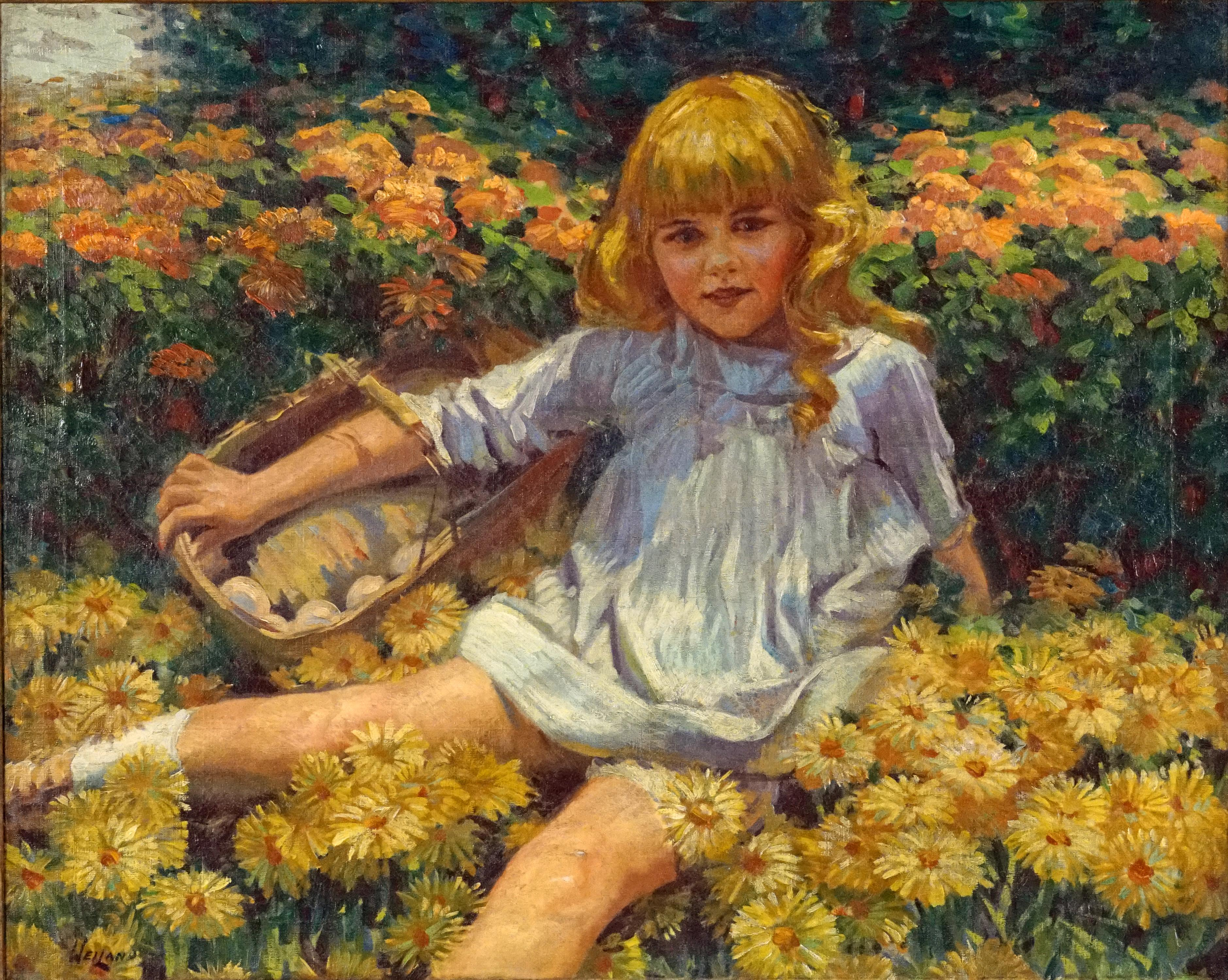James George Weiland. Young Girl Resting in a Bed of Flowers