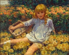 Young Girl Resting in a Bed of Flowers