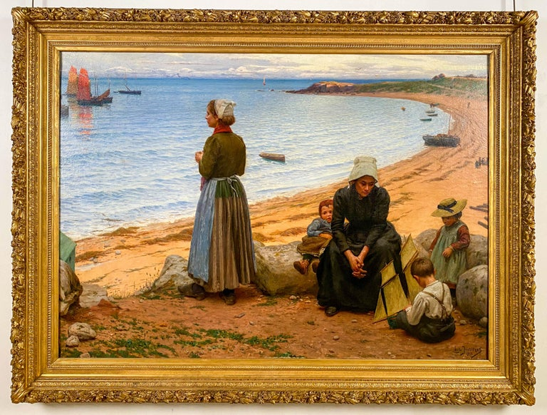 Leonce De Joncieres Figurative Painting - A Day at the Beach