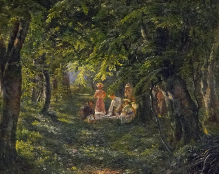 Figures in the Forest - Impressionist Painting by Carl Carlsen