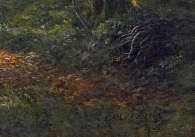 Figures in the Forest - Black Landscape Painting by Carl Carlsen