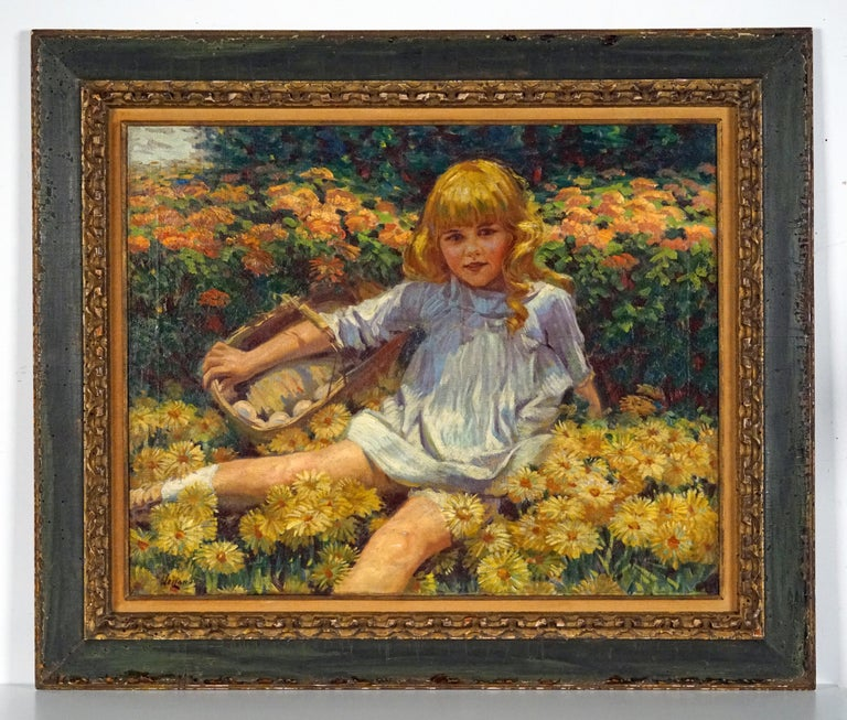Young Girl Resting in a Bed of Flowers - Painting by James George Weiland