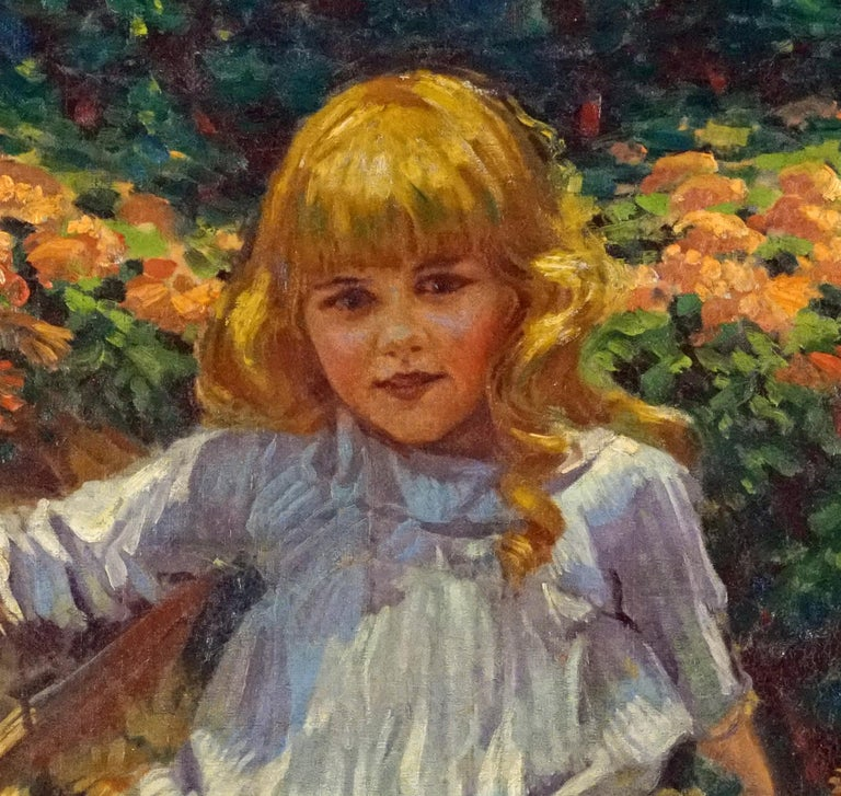 Young Girl Resting in a Bed of Flowers - American Impressionist Painting by James George Weiland