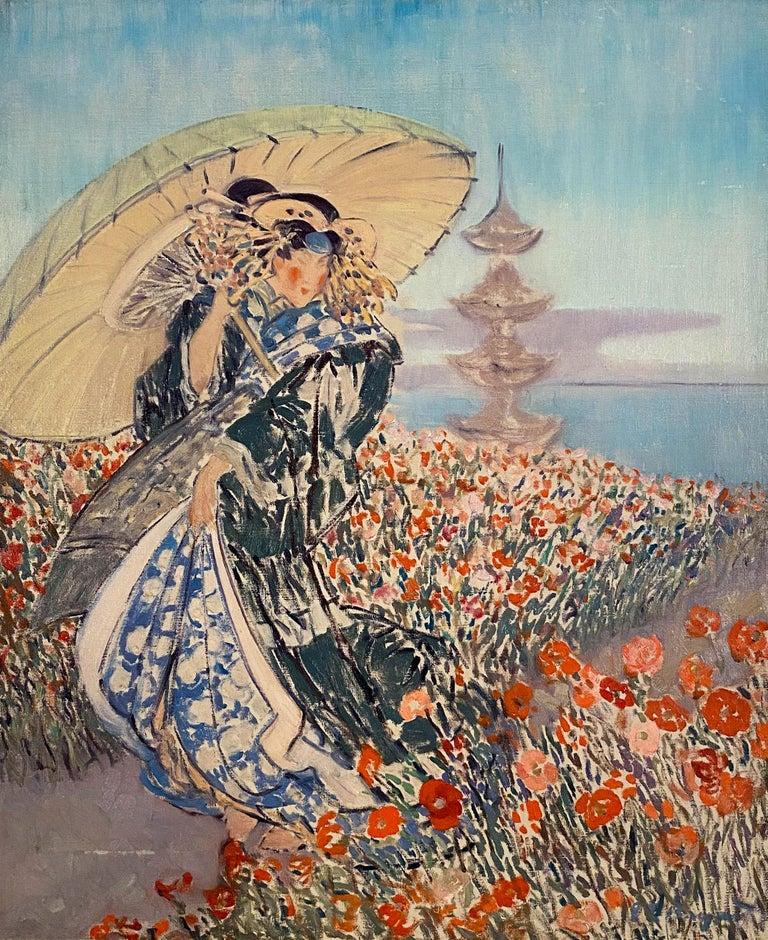 Woman in Kimono - Painting by Everett Lloyd Bryant
