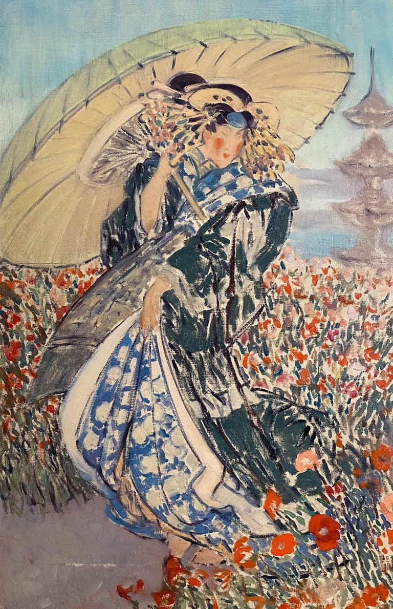 Woman in Kimono - Post-Impressionist Painting by Everett Lloyd Bryant