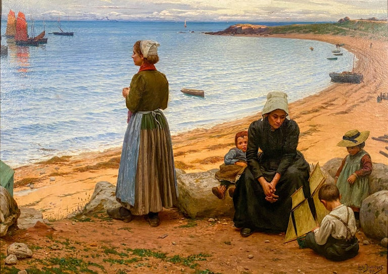 A Day at the Beach - Painting by Leonce De Joncieres