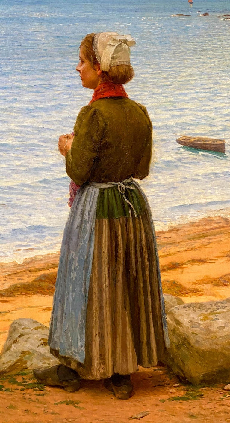 A Day at the Beach - Brown Figurative Painting by Leonce De Joncieres