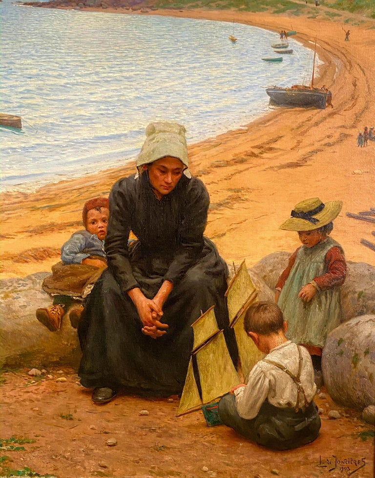 Leonce De Joncieres French, 1871-1947 A Day at the Beach  Oil on canvas Signed and dated 'L. de Joncieres/ 1903' (lower right) 46 1/2 by 65¼ in. W/frame 48 ½ by 77 ¼ in. Painted in 1903.  Leonce studied under Gerome, Bouguereau, and Merson  He
