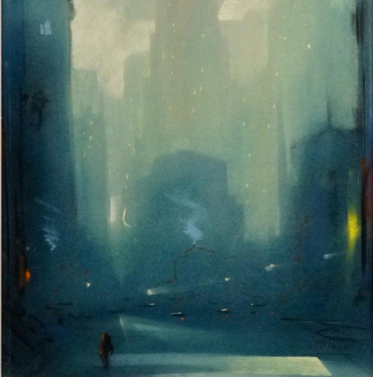 Manhattan Skyline - Post-Impressionist Art by Leon Dolice
