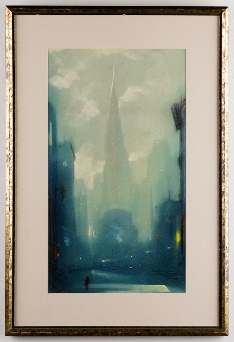 Manhattan Skyline - Beige Landscape Art by Leon Dolice