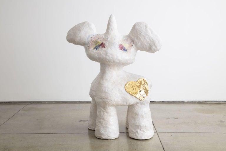 Jasmin Anoschkin Figurative Sculpture - Golden Heart Bambi Wannabe Unicorn