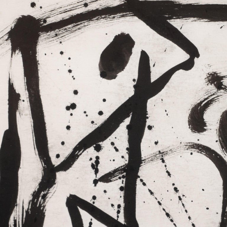 This refined ink on paper work, Untitled No. 22, was realized by the renowned American artist Alexander Markovich circa 1985. Using an expressionistic style, full of verve, Markovich creates an image of a solitary figure in