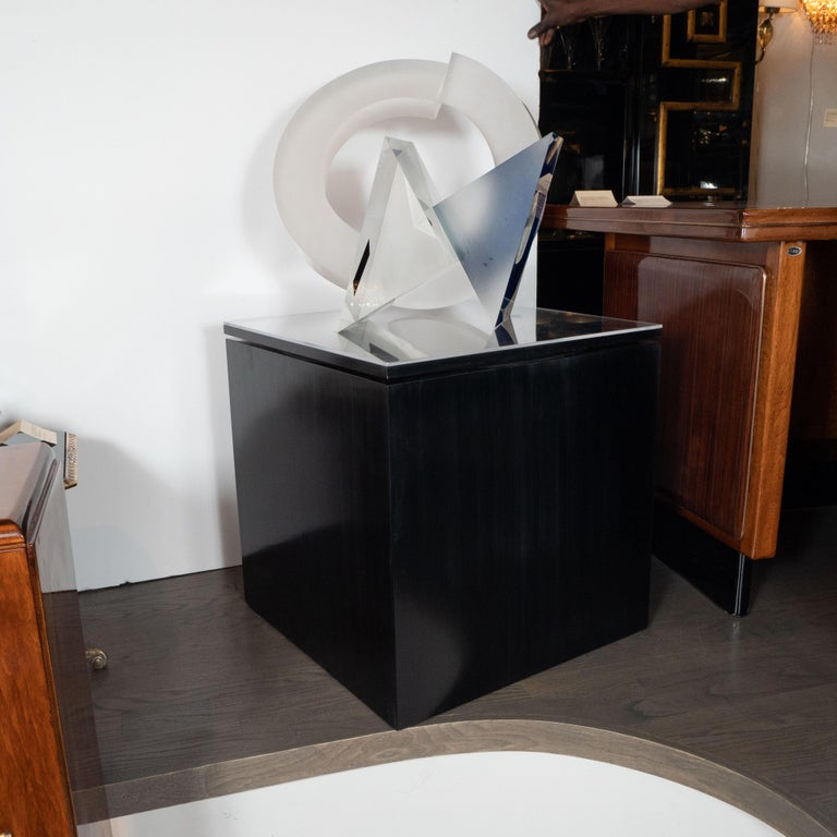 This stunning and graphic handblown glass sculpture, entitled Circulo Within and Without #VIII