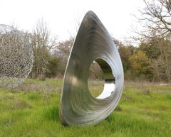 Re-Invention in Stainless Steel -interactive minimalist sculpture by Ivan McLean