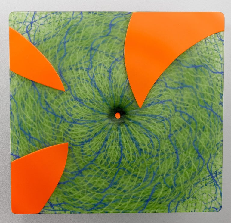 Joshua Bernbaum Abstract Sculpture - Extroverre Green with Carved Orange Face