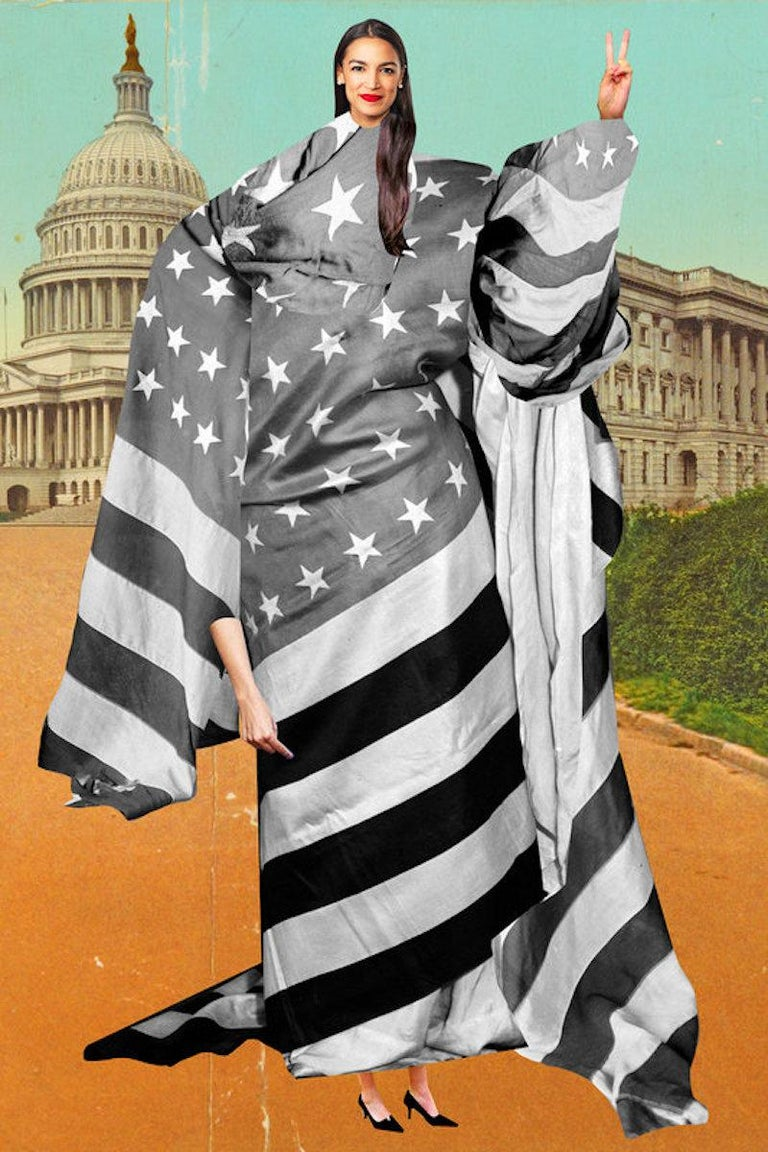 Johanna Goodman Figurative Print - Alexandra Ocasio-Cortez, the youngest woman to serve in Congress...