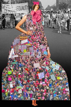 Plate No. 248, The Women's March (Collage, Abstract, Pink Hats)