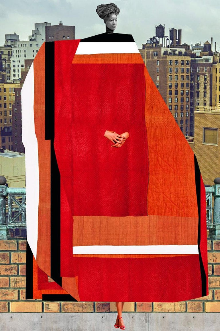 Johanna Goodman Portrait Print - Plate No. 197 (Abstract, Collage, Red, High Rises)