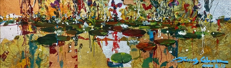 GOLD AND LILIES - Mixed Media Art by James Coleman