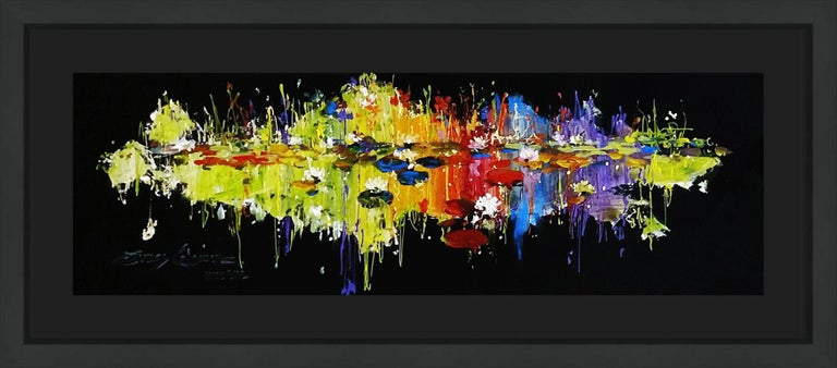 LILY IN RADIANT POND - Expressionist Mixed Media Art by James Coleman