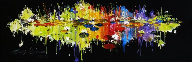 LILY IN RADIANT POND - Mixed Media Art by James Coleman