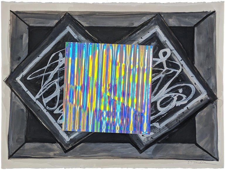 Original mixed media on paper.  Center square is silver and reflects light in prismatic pattern.  Hand signed by the artist. Artwork is in excellent condition. Certificate of authenticity included.  All reasonable offers will be considered.