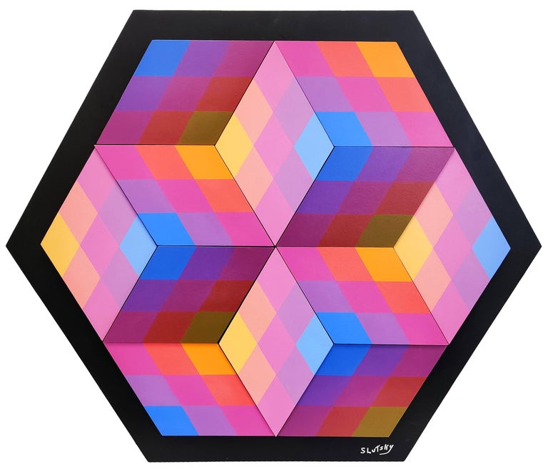 Stan Slutsky Abstract Painting - CUBED (DIMENSIONAL PIECES OF WOOD WITHMAGNETS)
