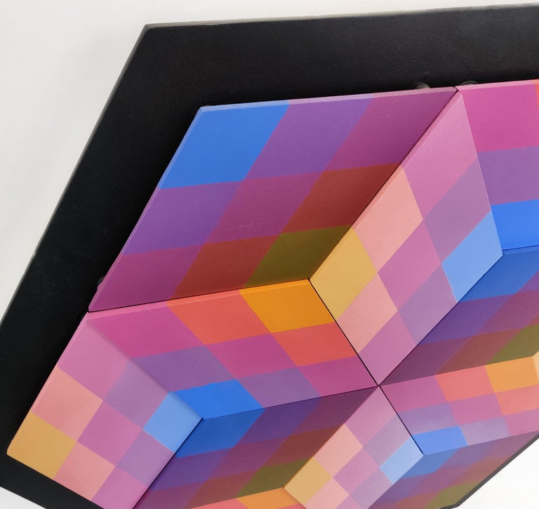 CUBED (DIMENSIONAL PIECES OF WOOD WITHMAGNETS) - Op Art Painting by Stan Slutsky