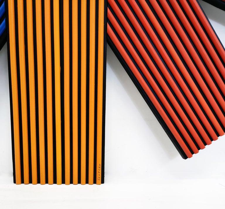 LINES (DIMENSIONAL HAND PAINTED WOOD) - Op Art Mixed Media Art by Stan Slutsky