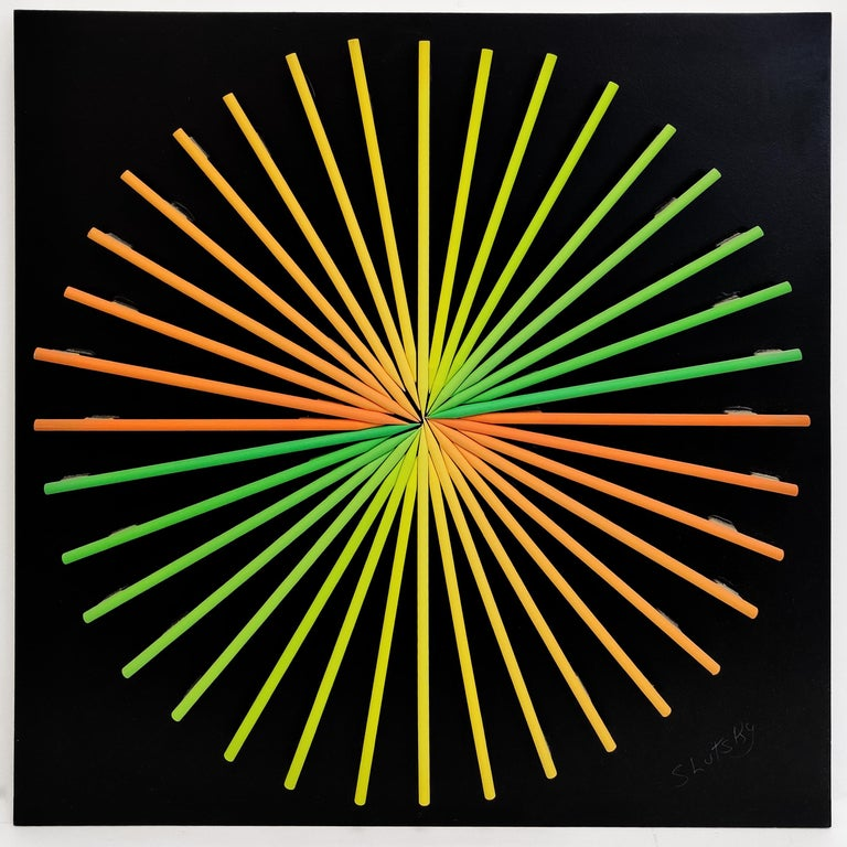 SUNBURST (DIMENSIONAL PIECES OF WOOD WITH MAGNETS) - Mixed Media Art by Stan Slutsky