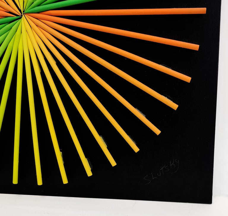 SUNBURST (DIMENSIONAL PIECES OF WOOD WITH MAGNETS) - Op Art Mixed Media Art by Stan Slutsky