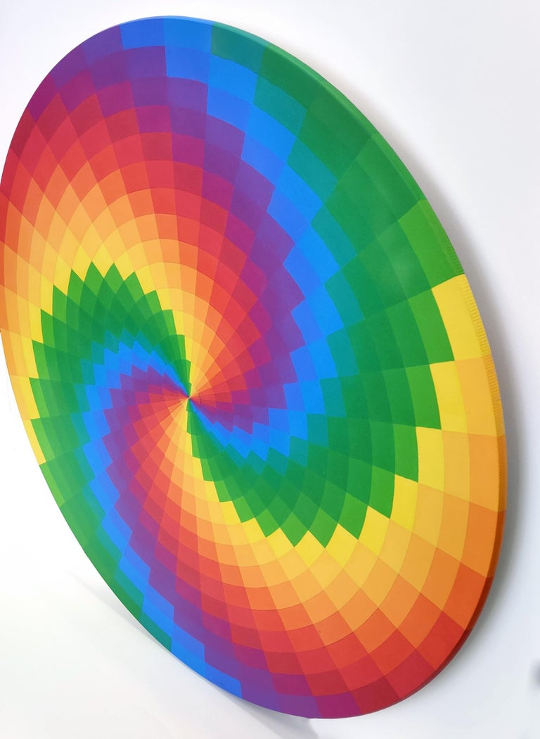 SPIRAL RAINBOW (CIRCULAR PAINTING ON WOOD) For Sale 1