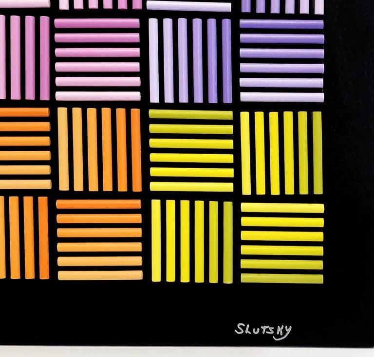 RADIANCE (DIMENSIONAL HAND PAINTED WOOD) - Op Art Mixed Media Art by Stan Slutsky