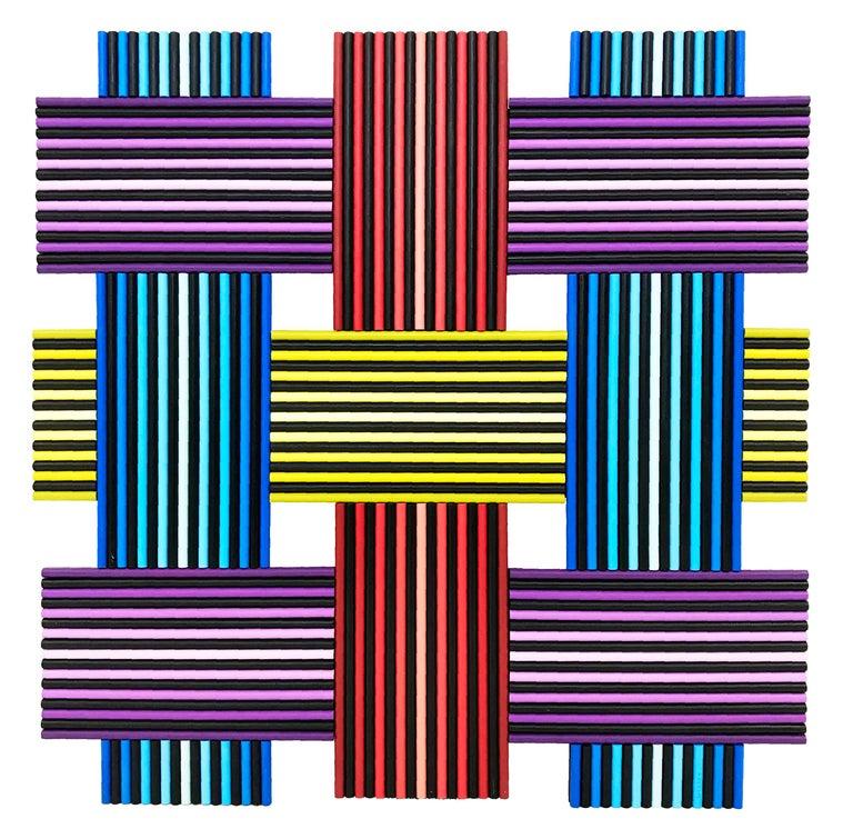 Stan Slutsky Abstract Painting - DREAM WEAVER (DIMENSIONAL HAND PAINTED WOOD)